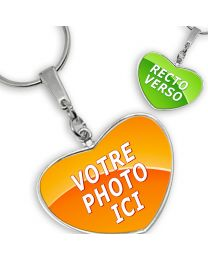 Porte-clés photo grand coeur recto verso