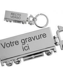 Porte-clés camion gravé métal
