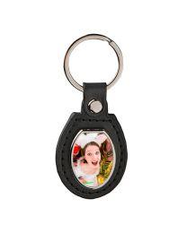 porte clés cuir métal photo ovale off