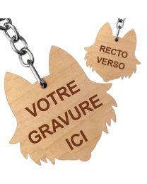 Porte clés bois gravé chien