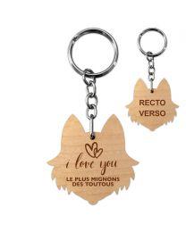 Porte clés bois gravé chien - off