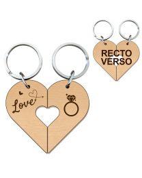 Porte clés bois gravé cœur duo amoureux - off