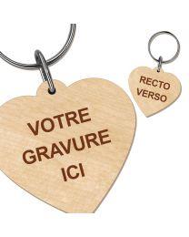 Porte clés bois gravé cœur
