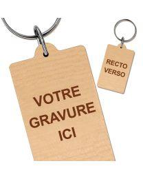 Porte clés bois gravé rectangle 35x55 mm
