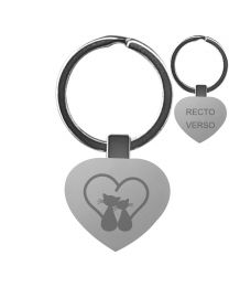 Porte clés gravé métal coeur -off