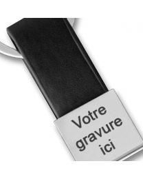 Porte-clés gravé Simili cuir et métal carré