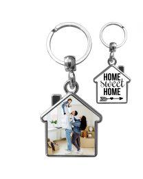 Porte clés métal maison personnalisé double face - off