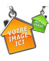 Porte clés métal maison personnalisé double face