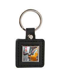porte clés personnalisé carré cuir et métal off