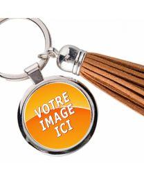 Porte-clés photo bijou pompon marron