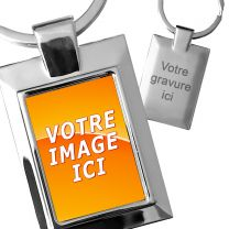 Porte-clés photo cadre rectangle métal