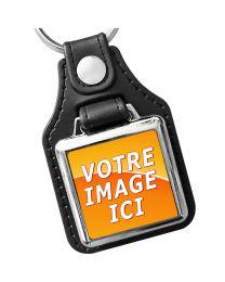Porte clés photo carré métal et cuir 25x25