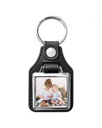 Porte clés photo carré métal et cuir 25x25 - off