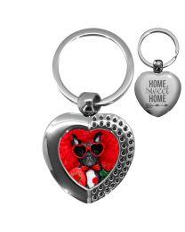 porte clés photo coeur effet diamants - off