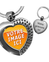 porte clés photo coeur effet diamants
