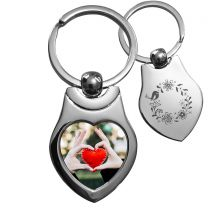 porte clés photo coeur métal off