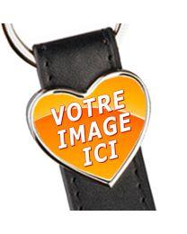 porte clés photo cuir et coeur métal