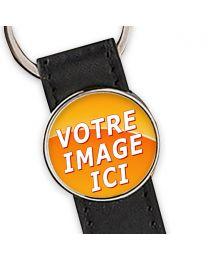 porte clés photo cuir et rond métal