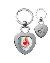 Porte-clés photo double cœur métal - off