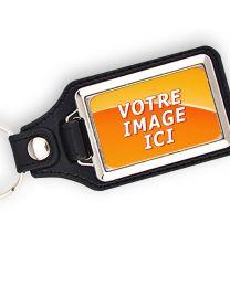Porte clés photo métal et cuir 40x25