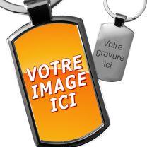 Porte-clés photo métal rectangle arrondi