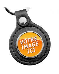 porte clés rond cuir et métal personnalisé