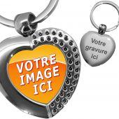 porte clés photo coeur effet diamants