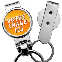 Porte-clés photo métal clips ceinture
