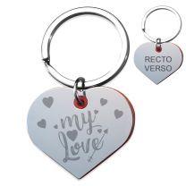 Porte-clé gravé amour miroir et rouge - off