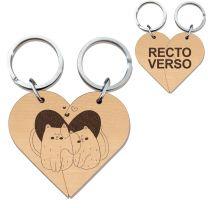 Porte clés cœur bois gravé duo
