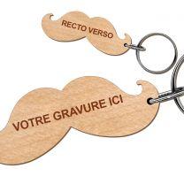 Porte clés bois gravé moustache