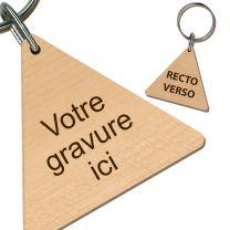 Porte clés bois gravé triangle