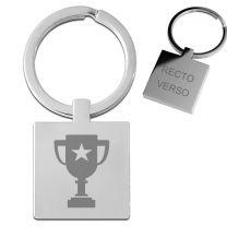 Porte clés gravé métal carre