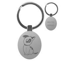 Porte clés gravé métal ovale - off