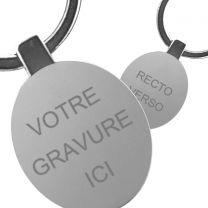 Porte clés gravé métal ovale