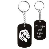 Porte-clés gravé plaque militaire noir