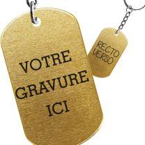 Porte-clés gravé plaque militaire or