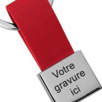 Porte-clés gravé Simili cuir et métal carré rouge