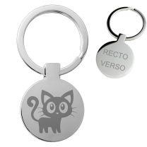 Porte clés gravé métal rond