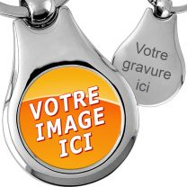 Porte-clés métal photo médaillon rond