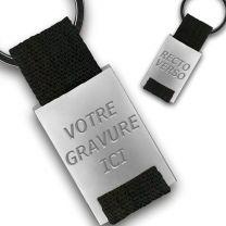 Porte clés métal tissu gravé double face noir