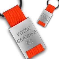 Porte clés métal tissu gravé double face orange