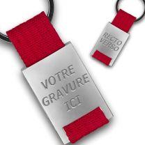 Porte clés métal tissu gravé double face rouge