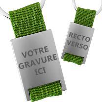 Porte clés métal tissu gravé double face vert
