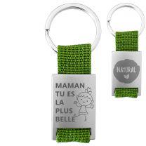 Porte clés métal tissu gravé double face vert - off