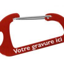 Porte-clés mousqueton gravé rouge