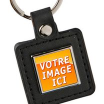 porte clés personnalisé carré cuir et métal