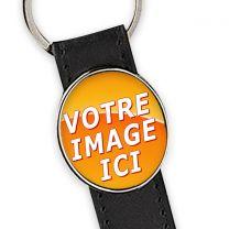 porte clés personnalisé cuir rond métal oval