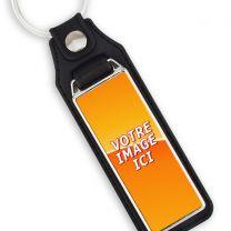 Porte clés photo métal et cuir 50x18mm