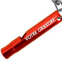 Porte clés sifflet gravé rouge